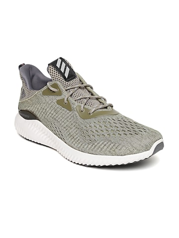 Adidas Men Olive Green Alphabounce EM Running Shoes Adidas Sports Shoes at myntra
