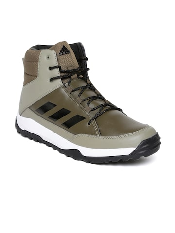 Adidas Men Olive Green Mud Flat Leather Mid-Top Trekking Shoes at myntra