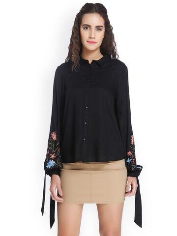 Vero Moda Women Black Regular Fit Solid Casual Shirt at myntra