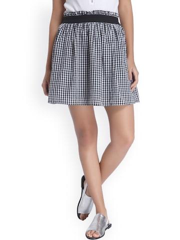 Vero Moda Black & White Checked Flared Skirt at myntra