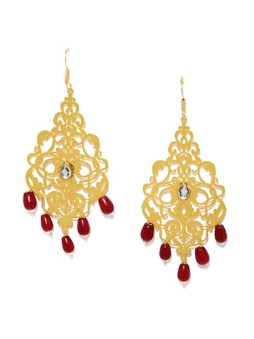Fida Gold-Toned & Red Contemporary Drop Earrings at myntra