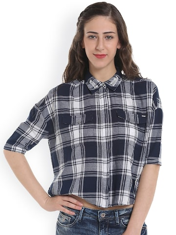 ONLY Women Blue Slim Fit Checked Casual Shirt at myntra