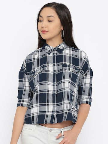 ONLY Women Navy & White Checked Crop Boxy Casual Shirt ONLY Shirts at myntra