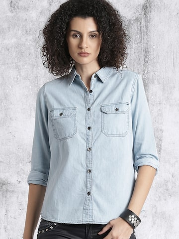 Roadster Women Blue Regular Fit Solid Casual Shirt at myntra