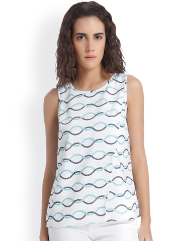 Vero Moda Women Off-White Printed Layered Top at myntra