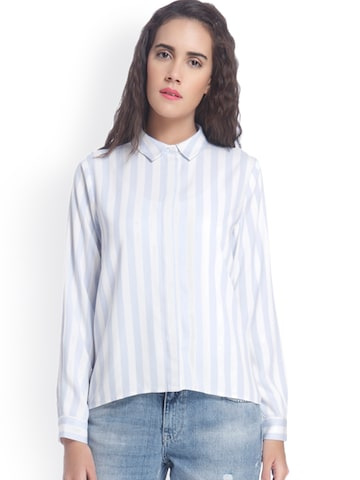 Vero Moda Women Blue & White Regular Fit Striped Casual Shirt at myntra