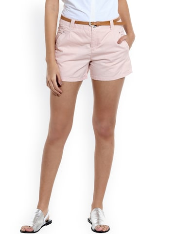 Vero Moda Women Peach-Coloured Solid Regular Fit Regular Shorts at myntra