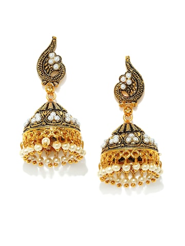 Rubans Oxidised Gold-Toned & White Dome-Shaped Jhumkas at myntra