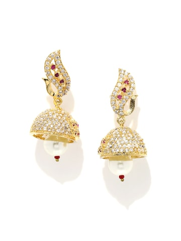 Rubans Gold-Plated & White Contemporary Jhumkas at myntra