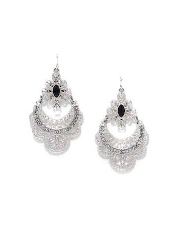 Rubans Silver-Toned & Navy Blue Contemporary Drop Earrings at myntra