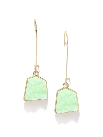 DressBerry Gold-Toned & Green Beaded Geometric Drop Earrings at myntra