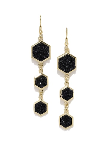 DressBerry Black & Gold-Toned Embellished Geometric Drop Earrings at myntra