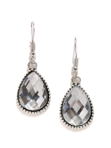 DressBerry Silver-Toned Drop Earrings at myntra