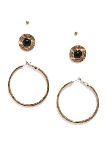 DressBerry Antique Gold-Toned Set of 3 Earrings at myntra