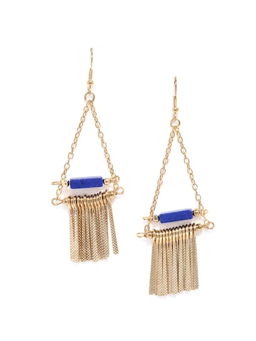 DressBerry Gold-Toned & Blue Drop Earrings at myntra