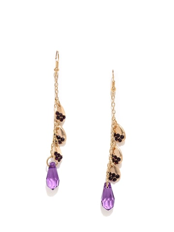 DressBerry Gold-Toned & Purple Teardrop Shaped Drop Earrings at myntra