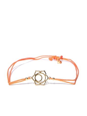 Accessorize Orange Gold-Plated Dual-Stranded Bracelet at myntra