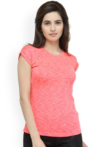 plusS Women Coral Orange Round Neck T-shirt at myntra