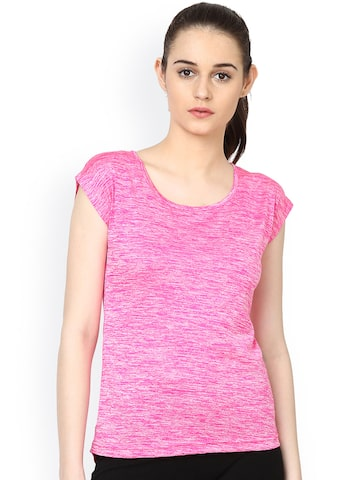 plusS Women Pink Round Neck Cut-Out T-shirt at myntra