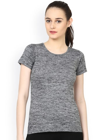 plusS Women Charcoal Grey Round Neck T-shirt at myntra