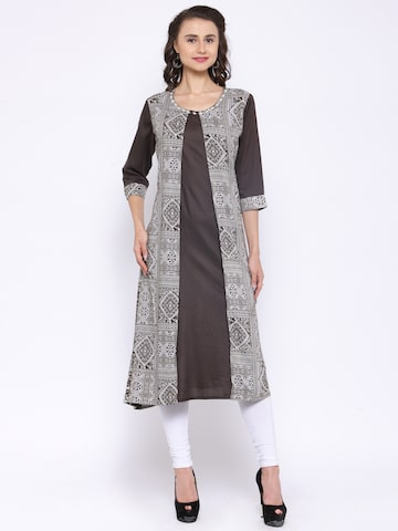 Shree Women Coffee Brown & Off-White Printed A-Line Kurta at myntra