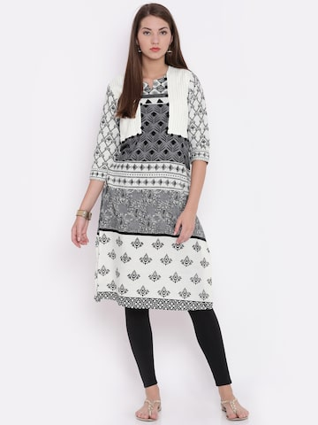 Jashn Women Off-White & Grey Printed A-Line Kurta at myntra