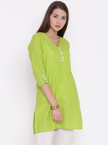 Jashn Women Lime Green Solid Straight Kurta at myntra