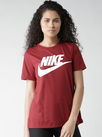Nike Women Maroon AS NSW ESSNTL HBR Printed T-shirt at myntra