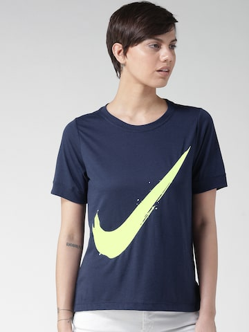 Nike Women Navy Blue NSW SS SWOOSH PREP Printed Round Neck T-shirt at myntra