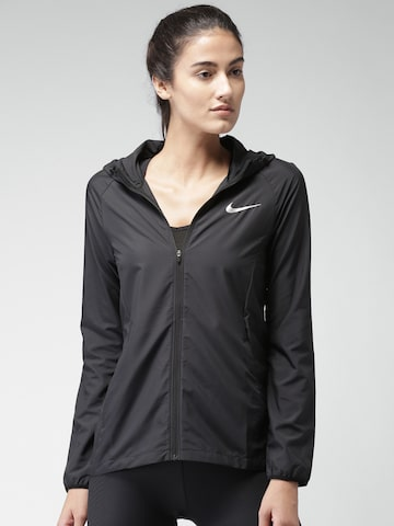Nike Women Black AS W NK ESSNTL JKT HD Water Resistant Open Front Jacket at myntra