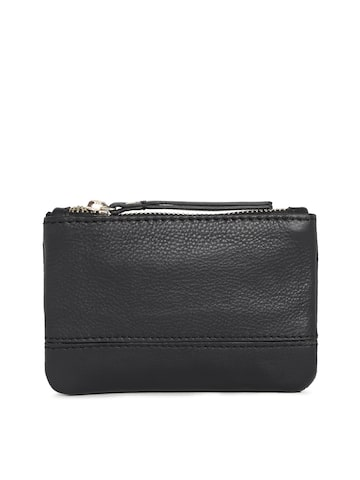 Accessorize Women Black Solid Leather Zip Around Wallet at myntra
