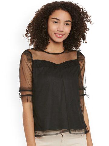 Femella Women Black Self-Design Semi-Sheer Top Femella Tops at myntra