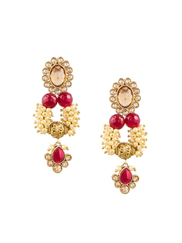 Sia Art Jewellery Gold-Plated & Off-White Embellished Drop Earrings at myntra