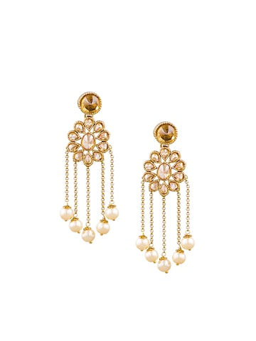 Sia Art Jewellery Gold-Plated & White Floral Drop Earrings at myntra