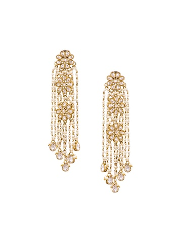 Sia Art Jewellery Gold-Plated Floral Drop Earrings at myntra