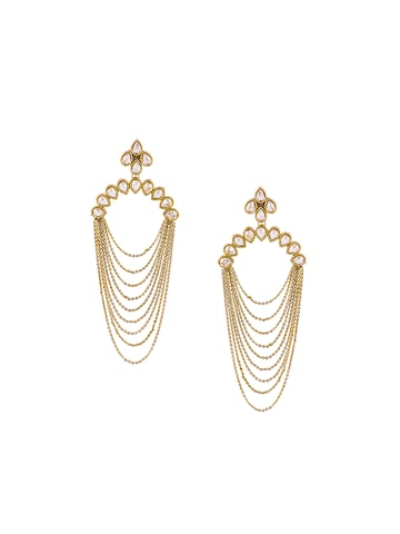 Sia Art Jewellery Gold-Plated & Pink Teardrop Shaped Hoop Earrings at myntra
