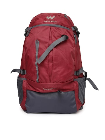 Wildcraft Unisex Red & Grey Colourblocked Techpack 45 Rucksack at myntra