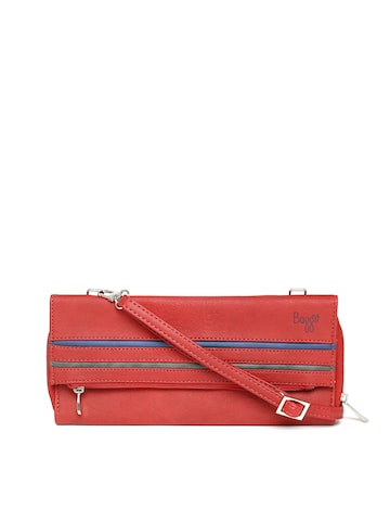 Baggit Women Red Solid Zip-Around Wallet with Sling Strap at myntra