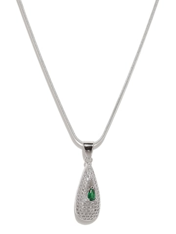 Golden Peacock Silver-Plated Teardrop-Shaped Pendant with Chain at myntra