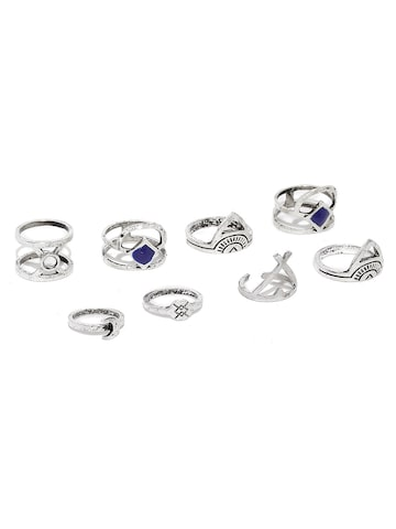 Golden Peacock Set of 8 Oxidised Silver-Plated Rings at myntra