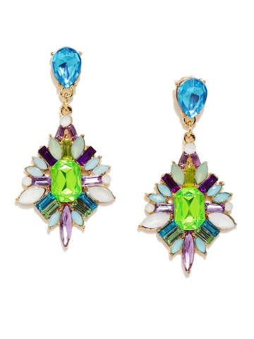 Golden Peacock Multicoloured Geometric Drop Earrings at myntra