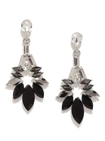 Golden Peacock Silver-Plated & Black Oval Drop Earrings at myntra