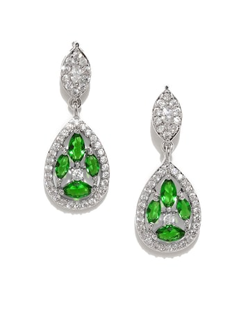 Golden Peacock Silver-Plated & Green Teardrop Shaped Drop Earrings at myntra
