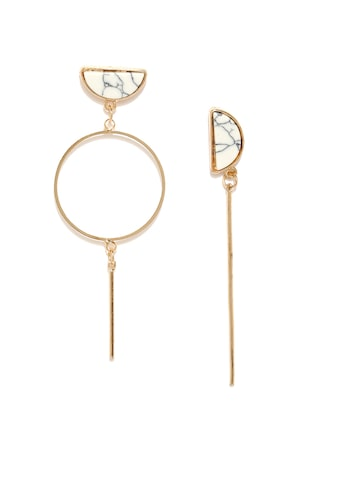Golden Peacock Gold-Plated & White Mismatched Drop Earrings at myntra