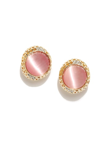 Golden Peacock Gold-Plated & Pink Circular Studs at myntra