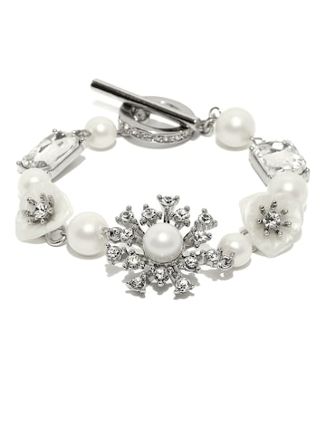 Golden Peacock Silver-Plated & White Stone-Studded & Beaded Bracelet at myntra