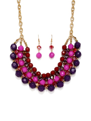 Golden Peacock Pink & Purple Beaded Jewellery Set at myntra
