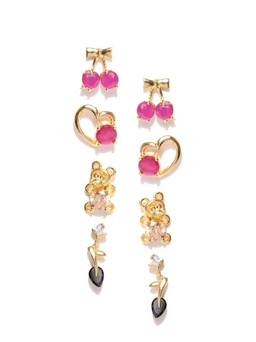 Zaveri Pearls Set of 4 Gold-Plated Stone Earrings at myntra