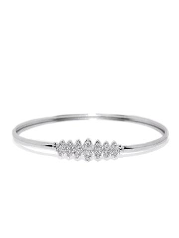 Zaveri Pearls Silver-Toned Stone-Studded Bracelet at myntra