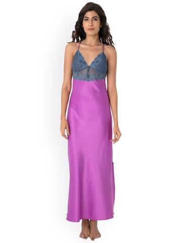PrettySecrets Purple Maxi Nightdress NW0031 at myntra